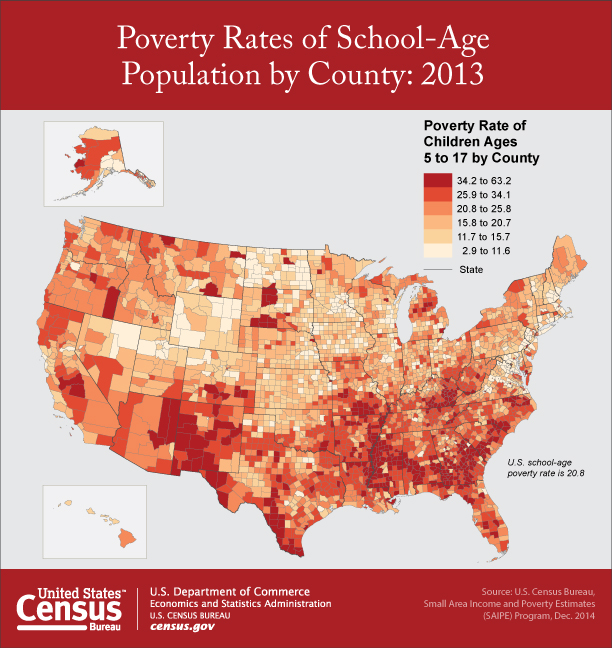 Poverty rate of children ages 5-17, by county, 2013