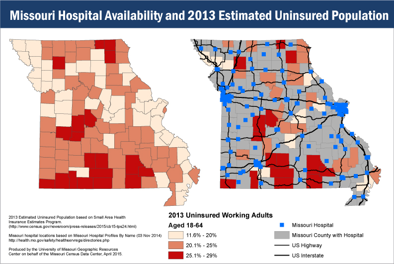 Hospital availability and estimated uninsured population in Missouri, 2013