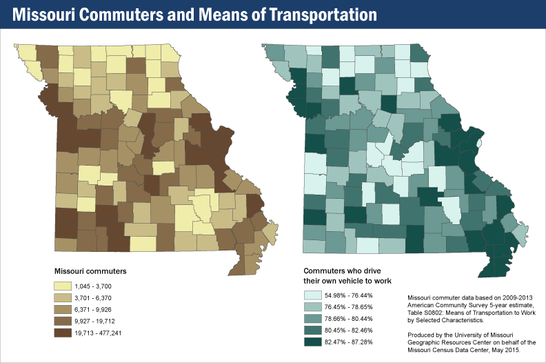 Commuters and means of transportation in Missouri