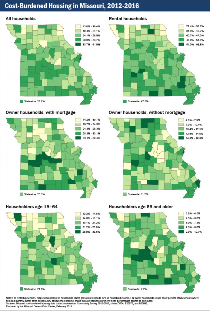 Cost-Burdened Housing in Missouri, 2012-2016